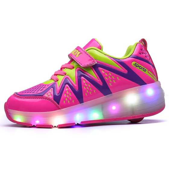 UK## Kids Heelys Wheel Roller Skate Gift Boys Girls LED Light Up sport Shoes