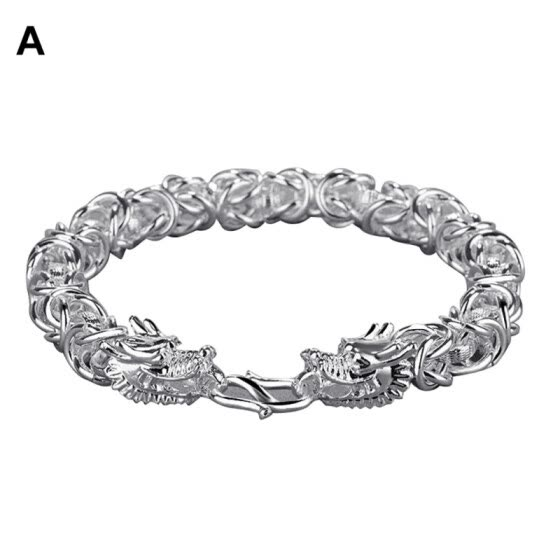 Men Fashion Dull Polish Alloy Chain Link Handcraft Bracelet Bangle Jewelry Gift
