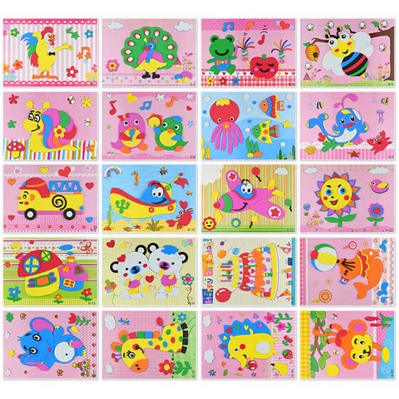 1PC 3D Kids Children Handmade Sticker Painting Education Toys Pattern Random UK