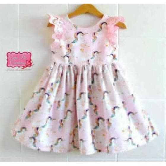 Fashion Kid Baby Girls Lace Cartoon Unicorn Party Pageant Dress Sundress Clothes