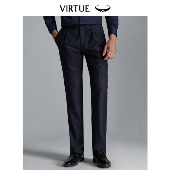 Virtue rich loose single pleated wool anti-wrinkle men 2019 spring new trousers business casual dark vertical stripes dress straight trousers YKM60243103 navy blue 82