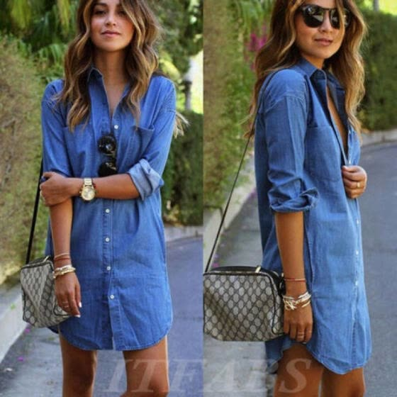 Womens Longline Denim Shirt Dress Ladies Jean Dresses Size 4 6 8 10 12 Blue USA