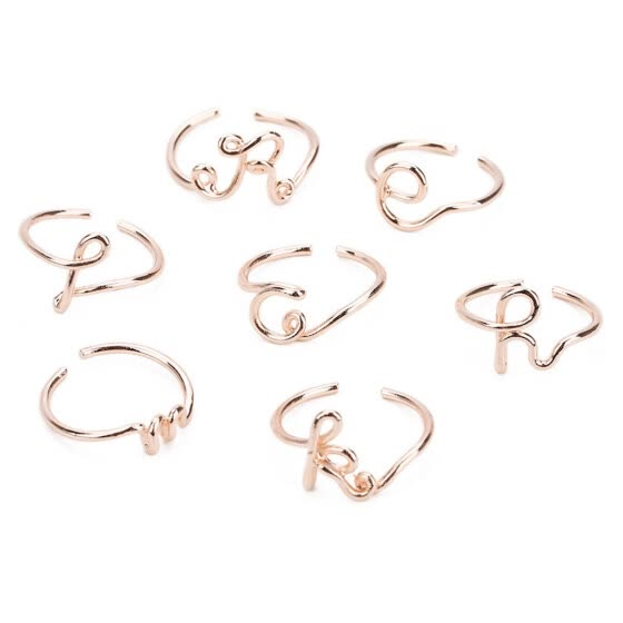 A to Z 26 Initial Letter Open Ring Women Men Couple Geometric Midi Ring Birthday Gift Jewelry