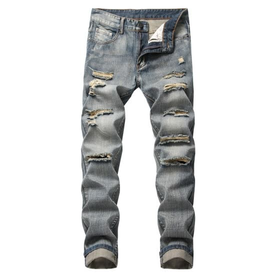 Gobestart Men's Fashion Slim Fit Personality straightl Casual Ripped Jeans Denim Pants