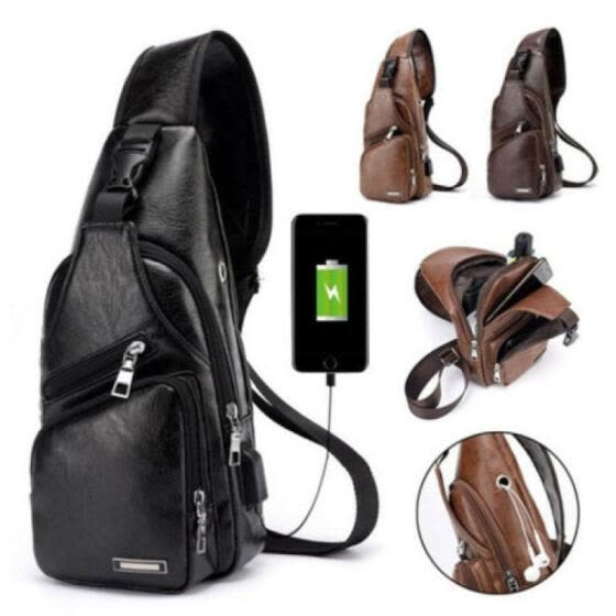 UKSTOCK Men Women's Leather Sling Bag Chest Shoulder Hiking Bicycle Bag Backpack