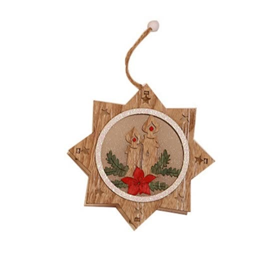Color Painted Wooden Frame Christmas Ornament Lamp Luminous Xmas Tree Hanging Pendant Holiday Decor