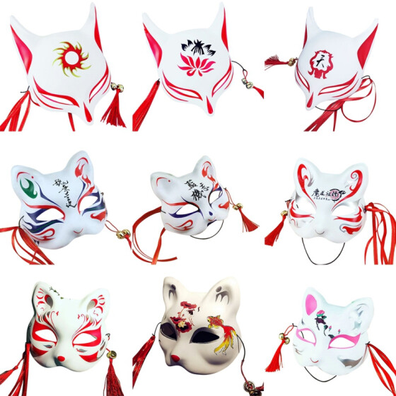 Full Face Hand-Painted Japanese Animal Fox Mask with Tassels Small Bells Cosplay