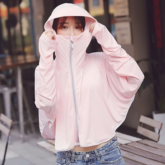Women Dustproof Summer Pleasantly Cool Lady Smock Hooded Riding Sunscreen Coat