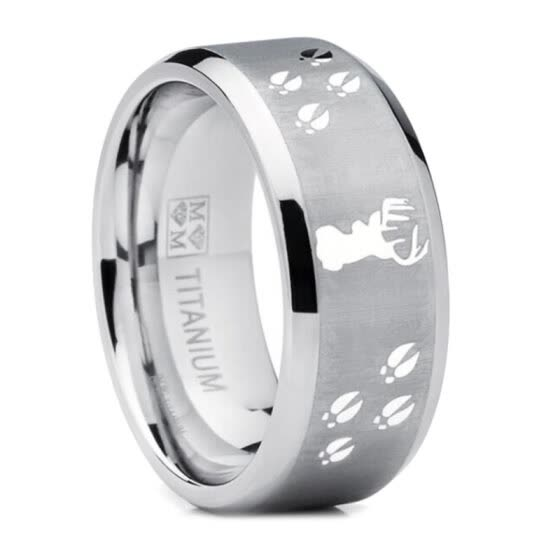 Fashion Men Deer Head Track Polish Stainless Steel Finger Ring Jewelry Xmas Gift