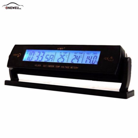LCD Digital Auto Car Temperature Thermometer Voltage Meter Monitor Clock Alarm