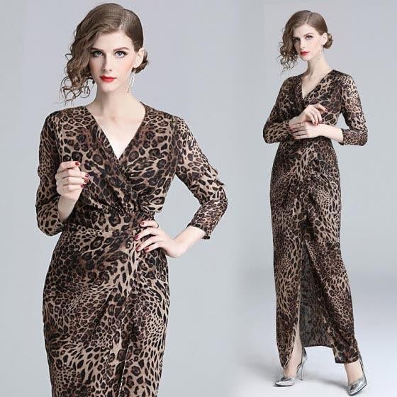 S M L XL elegant new spring 2019 long maxi dress women long sleeve leopard  print bandage V c83ff3556