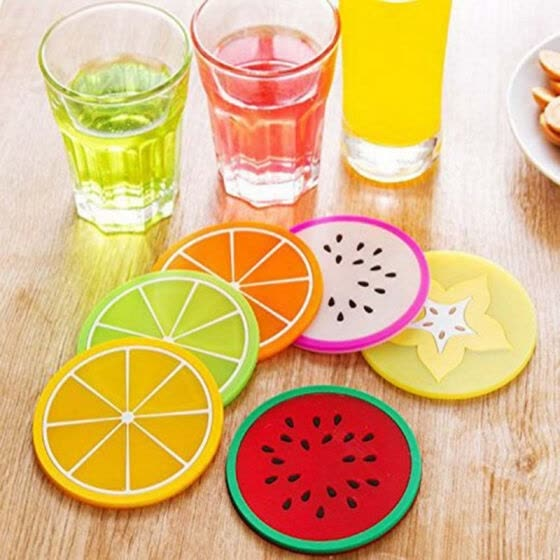 6pcs Colorful  Drink Holder Jelly Color Fruit Shape Coasters Creative Skid Insulation Silicone Gel Cup Mat Pad