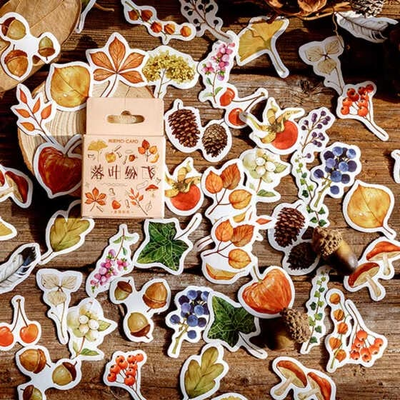 46 pcs Fall Flowers & Leaves Stickers For DIY Craft Photo Album Retro Decoration
