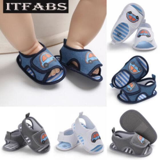 Newborn Baby Boy Girl Soft Sole Navy Crib Shoes Toddler Summer Sandal Size 0-18M