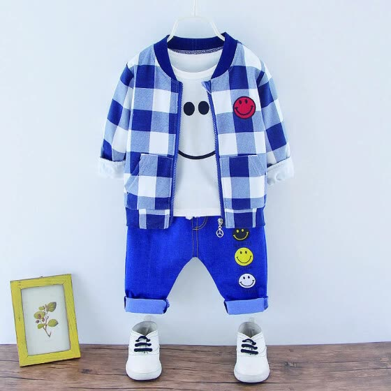 Children Boys  Three-piece Zipper Shirt Navy Blue Pants Sets Fashion Casual Long Sleeve Cotton Spring Autumn