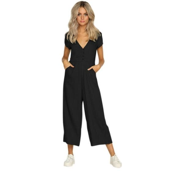 2020 Summer New Fashion Women Clothing Rompers Deep V collar Ankle-Length Pants Solid color Black White Khaki