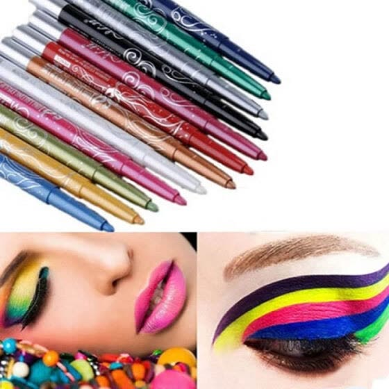 12 Colors Professional Makeup Eye Shadow Eyeliner Lip Liner Pencil Beauty Tool Set