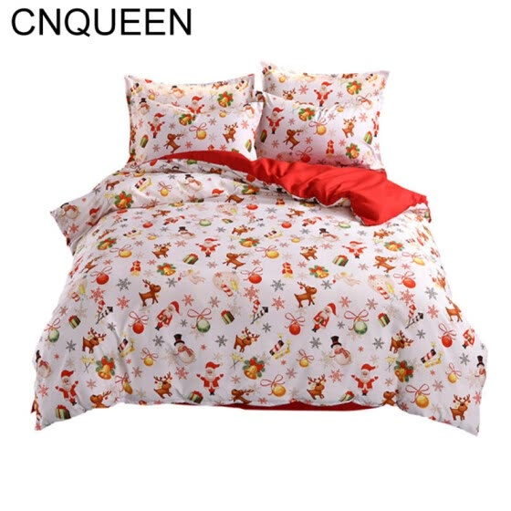 Lovely Christmas Snowflake Gift Printed Bed Quilt Cover Pillow Case Bedding Set