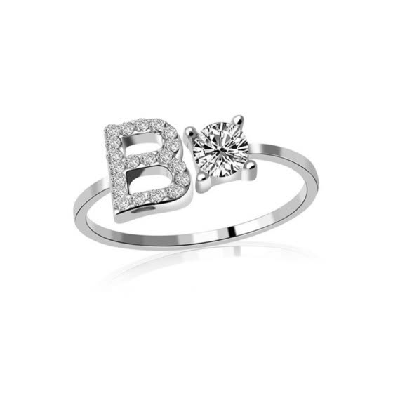 A-Z 26 Letters Cubic Zirconia Fashion Women Open Finger Ring Charming Jewelry