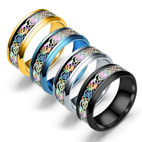 Fashion Women Men Stainless Steel Colorful Band Couple Ring Jewelry Gift Party