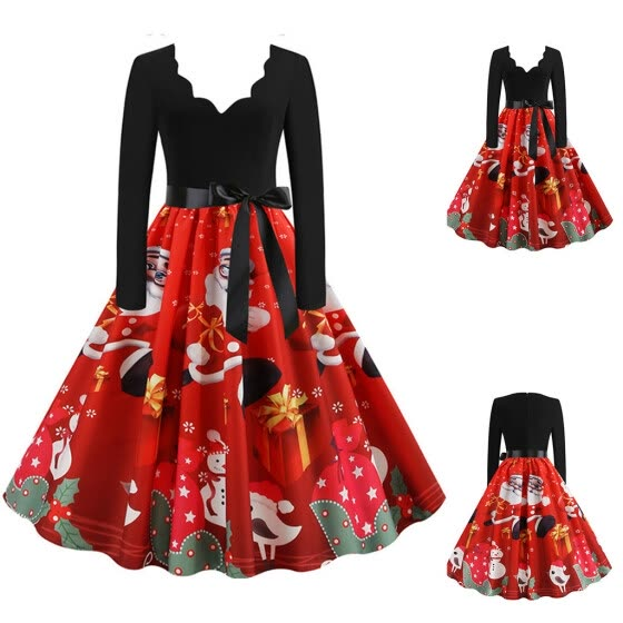 Gobestart WomenLong Sleeve Christmas  Musical Notes Print Vintage Flare Dress