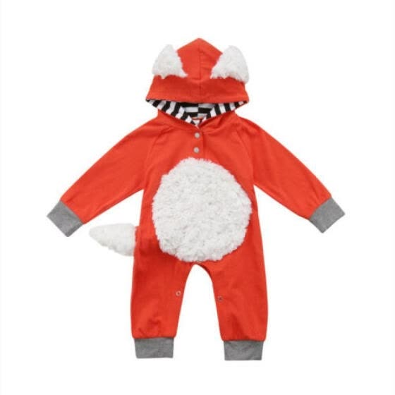 Newborn Toddler Girl/Boy Fox Long Sleeve Hooded Jumpsuit Bodysuit Overall Outfit