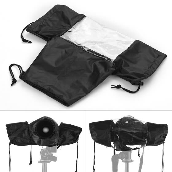Standard Camera Waterproof Rain Cover Sleeve Protector Raincoat for Canon Nikon Sony DSLR Cameras Black