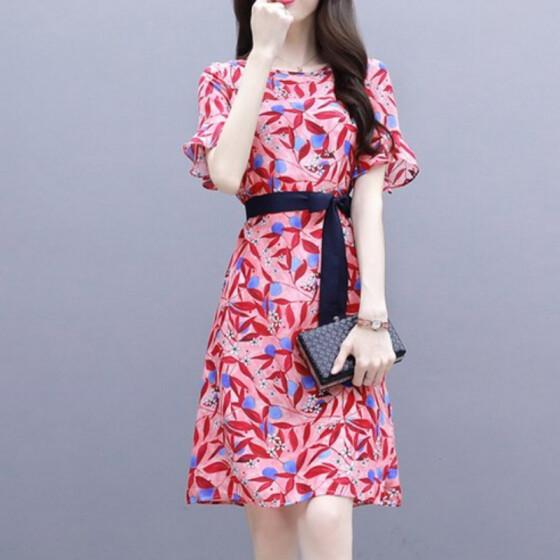 Transer Womens Cotton Linen T-Shirt Dress Crew Neck Short Sleeve Printed Slim Fit Summer Knee Length Dresses