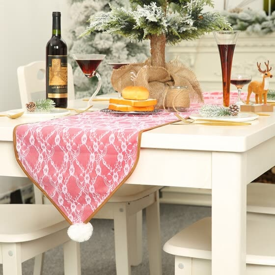Plush Pom Lace Decorative Christmas Table Runner Festival Holiday Dinning Table Decoration