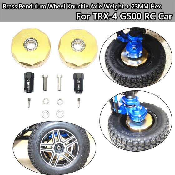 Siaonvr Brass Pendulum Wheel Knuckle Axle Weight  + 23MM Hex For TRX-4 G500 RC Car