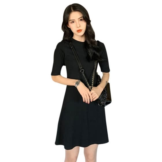 French retro over the knees sweet dress women's short sleeve a line o neck solid dress vintage mini dresses