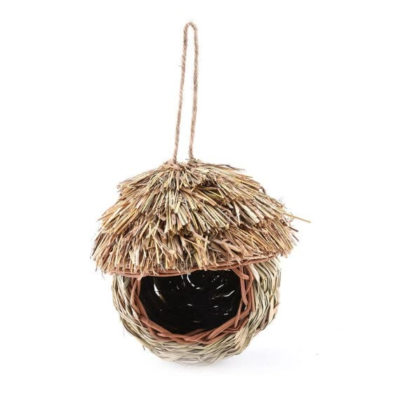 Handmade Birds Nest Natural Grass Egg Cage Weaved Hanging Parrot House Outdoor Yard Garden Decoration