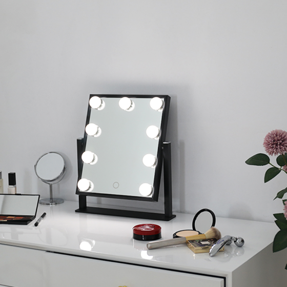 BEAUTME Hollywood Makeup Vanity Mirror with Lights,Bedroom Lighted StandingTabletop Mirror with 9 bulbs
