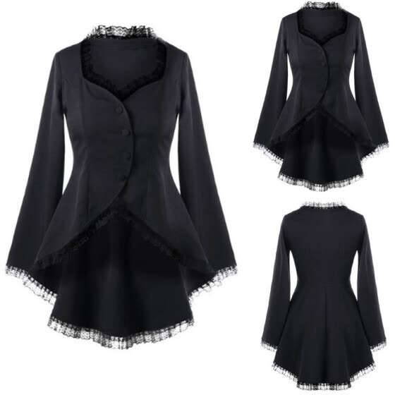 Women Casual Long Sleeve Lace Panel Buttons Asymmetric Slim Fit Blazer Coat