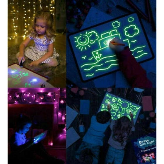 Kids Fun And Developing Toys Light Up Drawing Fluorescent Magic Writing Board