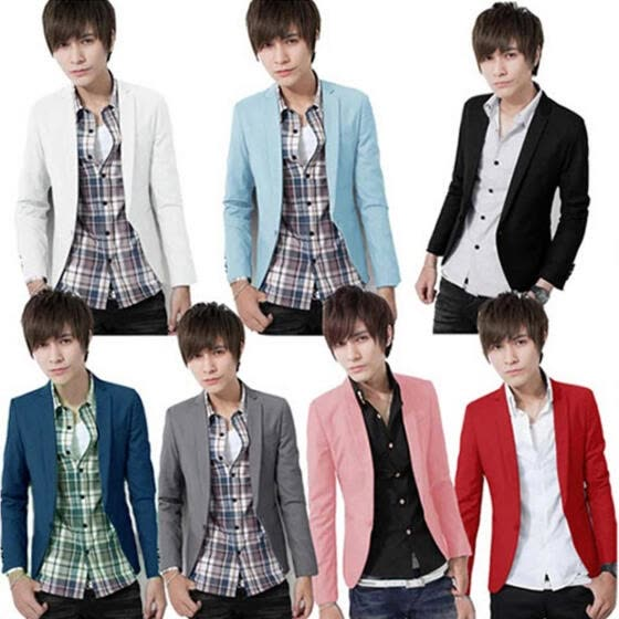 Fashion Men Slim Fit Solic Color Casual Suit Blazer Coat Jacket Outwear Top