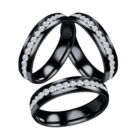 Women Men Fashion Stainless Steel Rhinestones Band Party Ring Jewelry Gift