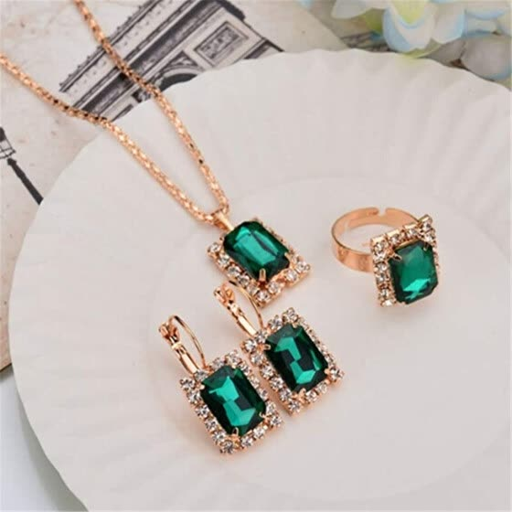 Crystal Necklace Earring Ring Set Vintage Pendant Jewelry Three-Piece Set