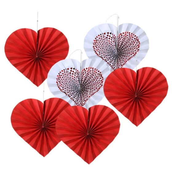 6PCS Red Love Paper Fan Decoration Colorful Hanging Paper Fans Party Decorations Supplies Decoracion Decoracao Bloemen Decoratie