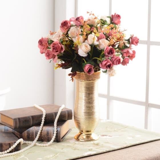 Shop European Style Flower Vase Decor Home Display Gold Plated Ceramic Vase Online From Best Vases On Jd Com Global Site Joybuy Com