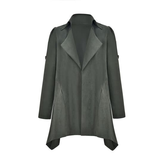 Womens Solid Long Sleeve Notched Blazer Casual Jacket Coat