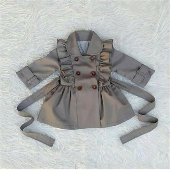 Kids Baby Girl Child Wind Jacket Trench Coat Windbreaker Parka Overcoat Outwear