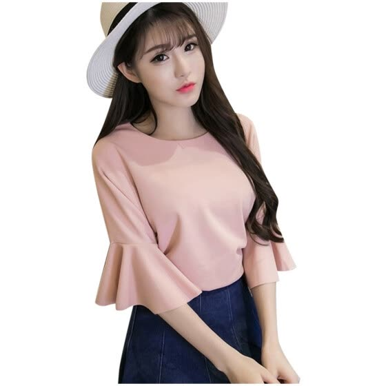 Fashion Women Half Flare Sleeve Solid O-Neck Casual Tops Ladies Blouse