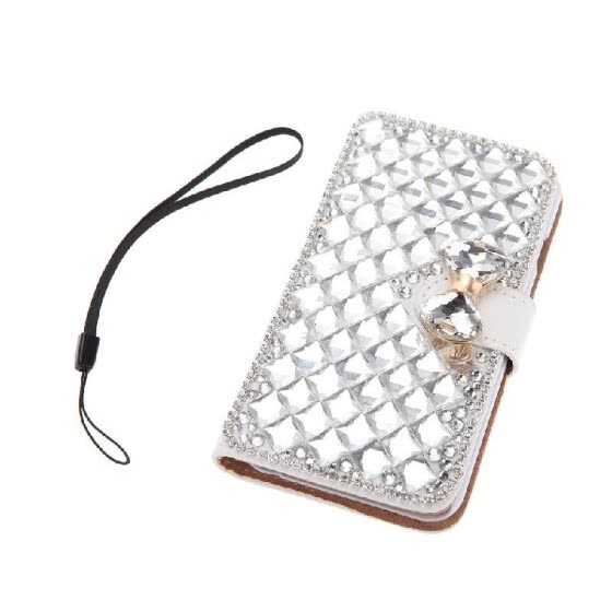 Fashion Flip PU Leather Bling Wallet Bowknot Rhinestone Diamond Protective Case Cover with Card Holder String for iPhone 6 6S 4.7""