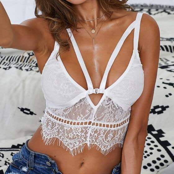 Sexy Lingerie French Style Floral Lace Bralette Thin Hollow Perspective White Underwear Transparent Push Up Bras for Women