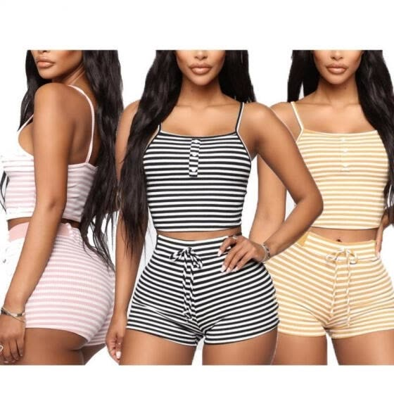 Women Striped Two-piece Outfit Short Vest Button Crop Tops Lace Up Shorts Summer Casual Outfit