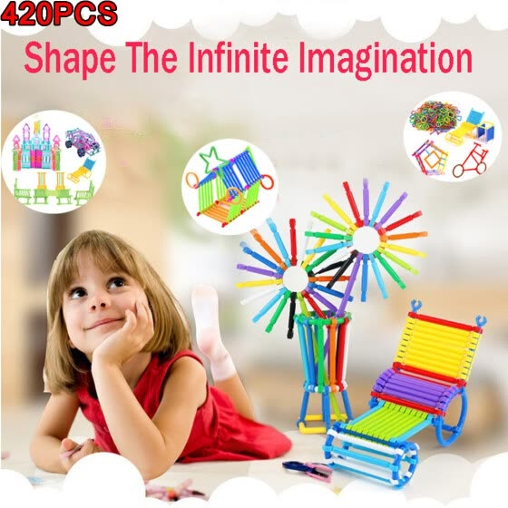 GFF kids toys 420PCS   Children's Enlightenment Plastic Splicing Wisdom Building Blocks