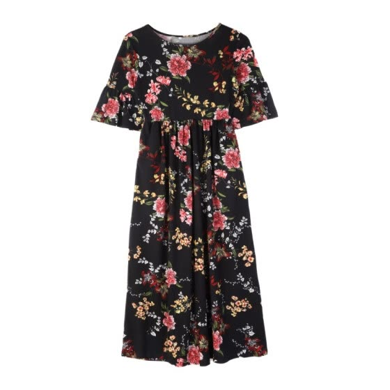 Women\'s Casual Floral Printed Long Maxi Dress O-Neck Batwing Sleeve Women Dresses Autumn Winter Female Dress Vestidos