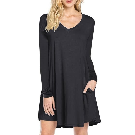 Women's Long Sleeve V-neck Swing Pocket Casual T-shirt Dress Color:Black Size:XL