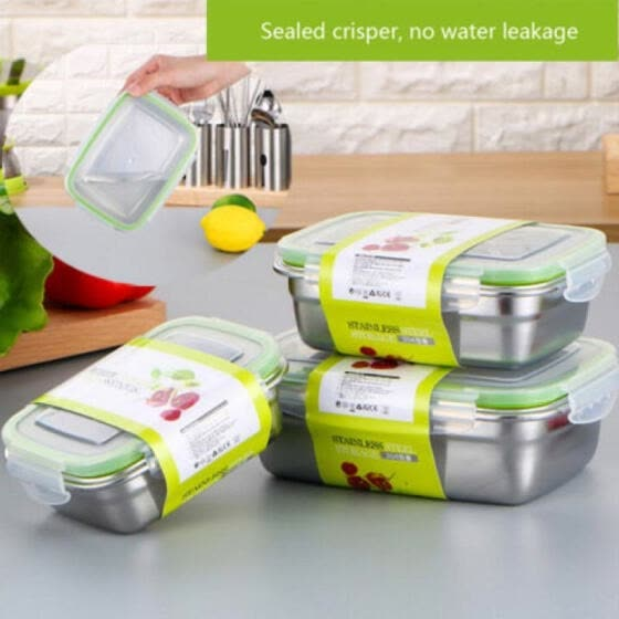 FINELOOK 1 Layer Stainless Steel Lunch Box Bento Food Container Storage